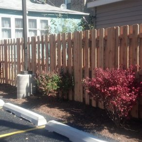 wooden slats fencing concept for fence installation in Frankfort