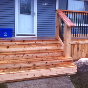 wood porch built by reliable Lockport Fence Installation company