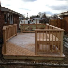 wood patio and deck install by reliable fence company in Homer Glen