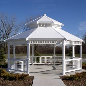 vinyl gazebo built by reputable fence contractor in Joliet