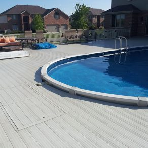 custom deck for above ground pool image if needing ideas for fences and decks in Dyer