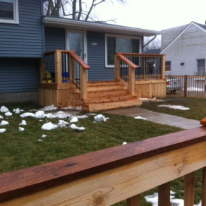 picture of wooden front porch for good reviews with Fence company in Homer Glen