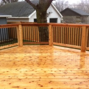 custom deck and rails concept built by quality builders of Crown Point fence contractors