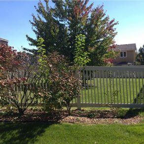 vinyl fence added to backyard for family with pets, contact great fence company in Homewood