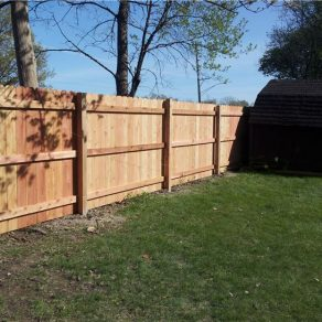 wood fence built by St. John fence company