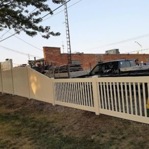 Fence built to gain privacy from neighboring business, if looking for affordable fence installers Lowell.