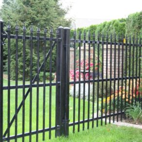 A commercial style gate entrance quality built, if looking for affordable fence installers Mokena, call us.