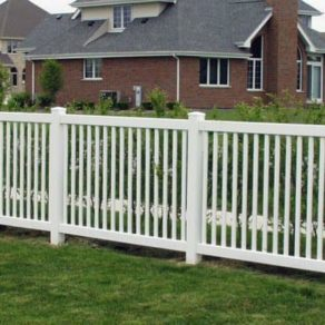 White residential barrier fence, if looking for affordable fence builders Schererville.
