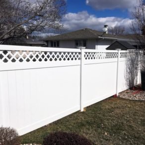 Example of vinyl fencing at home, if looking for affordable fence builders Lowell, IN.