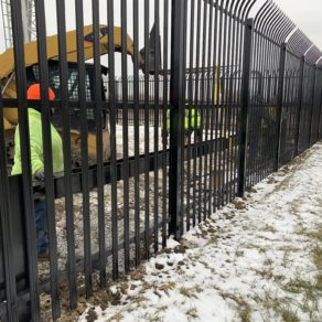Progression image of a fence installation by Homer Glen fence repairmen.