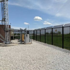 the best Merrillville fence company installed this fencing to protect this industrial area.