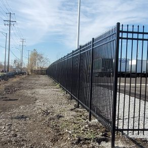 A photo of an iron fence installed by our Crown Point fence company.